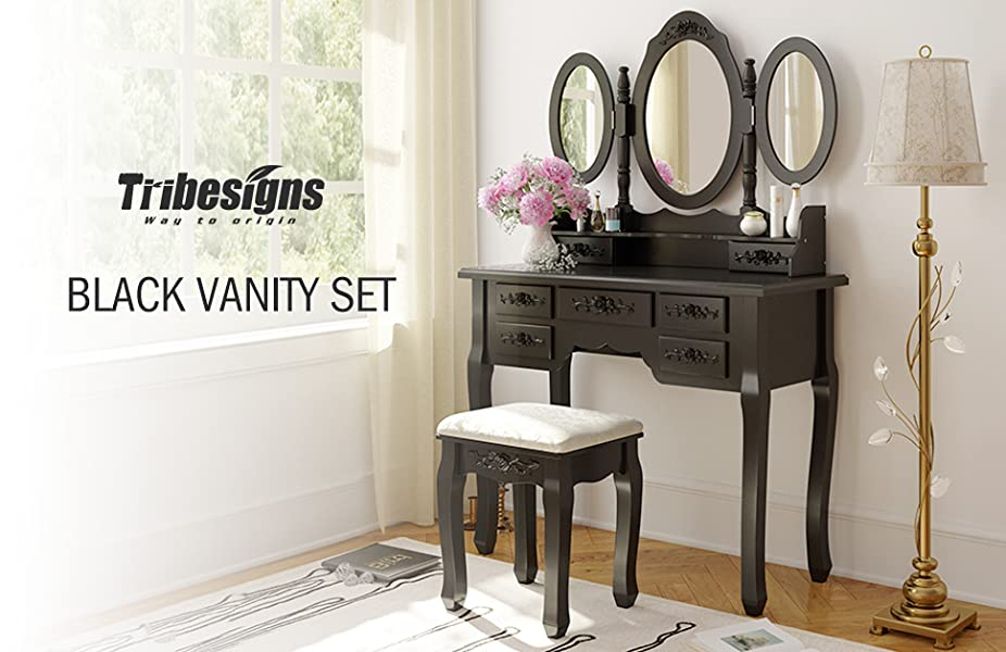Tribesigns wood makeup vanity table set with 3 - Amazon bedroom chairs and stools ...