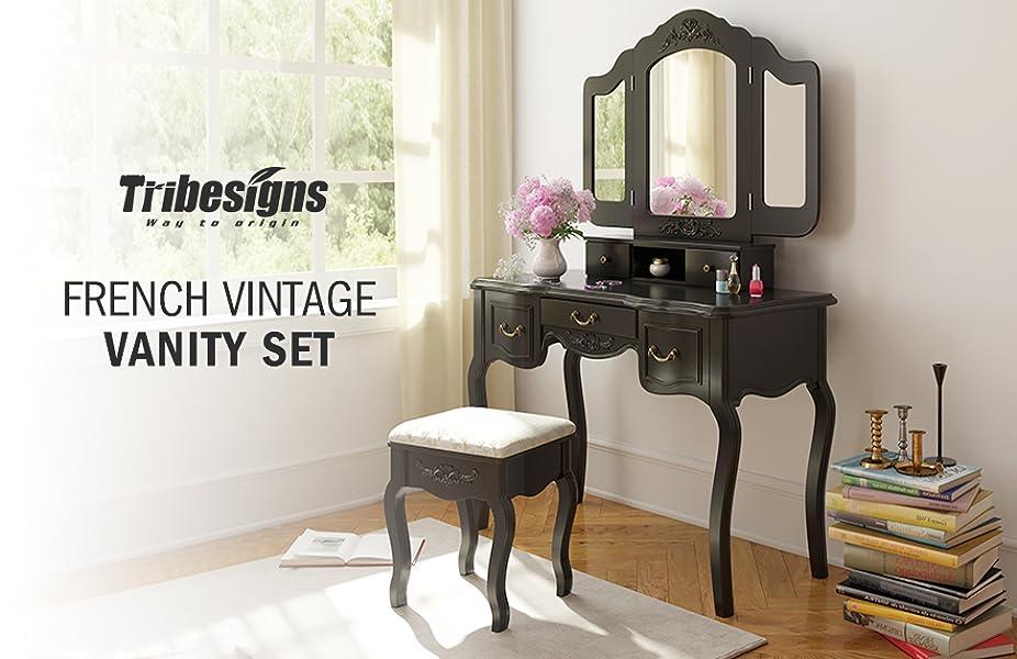 Amazon.com: Tribesigns Vanity Makeup Table Set, French Vintage ...