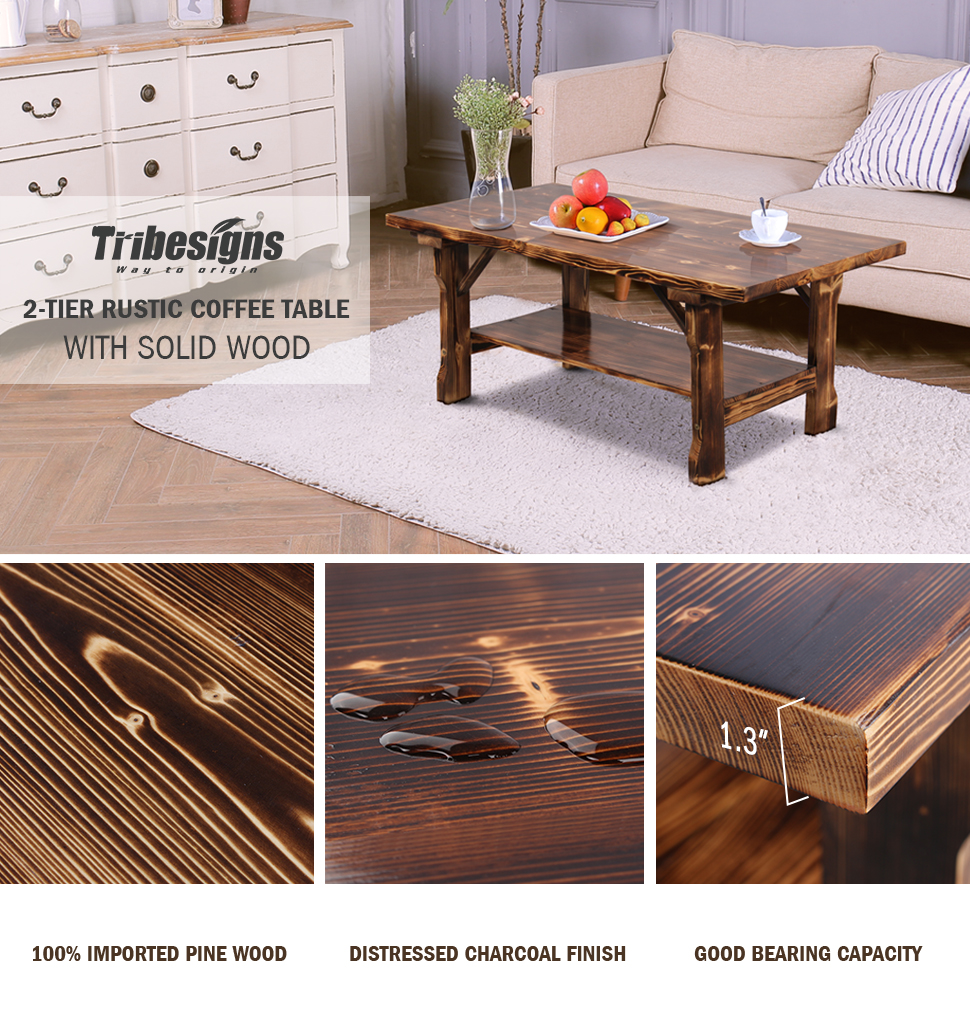 Crafted From 100 Solid Pine Wood And Charcoal Surfaces Color And Open Bottom Shelf Tribesigns Best Rectangular Coffee Table Instantly Elevates Your