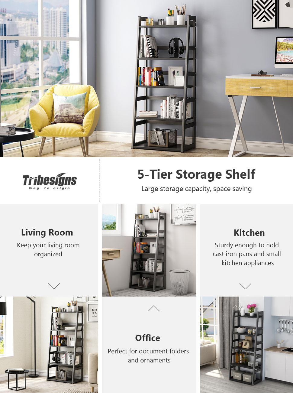 Amazon.com: Tribesigns 5-Tier Bookshelf, Free Standing Ladder Shelf ...