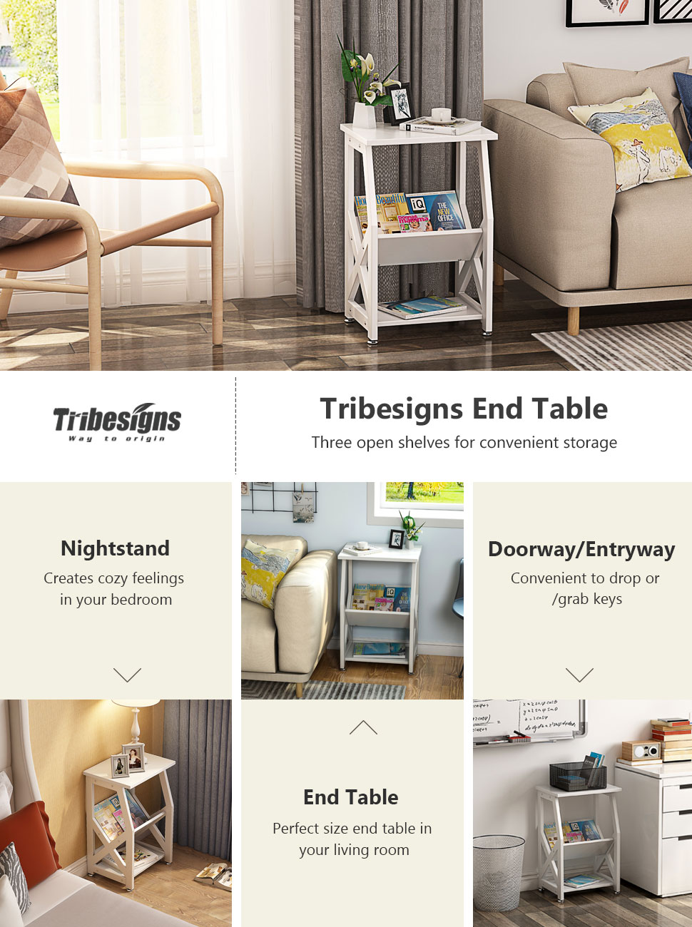Amazon.com: Tribesigns Chairside End Table Nightstand with Open ...