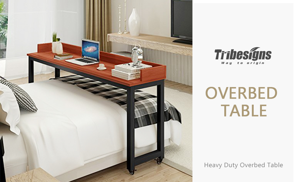 Overbed Table With Wheels Tribesigns Mobile Desk With