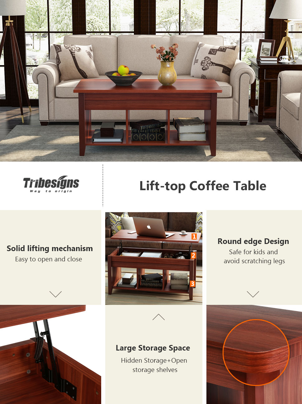 Amazon.com: Tribesigns Lift Top Coffee Table with Hidden Storage and ...