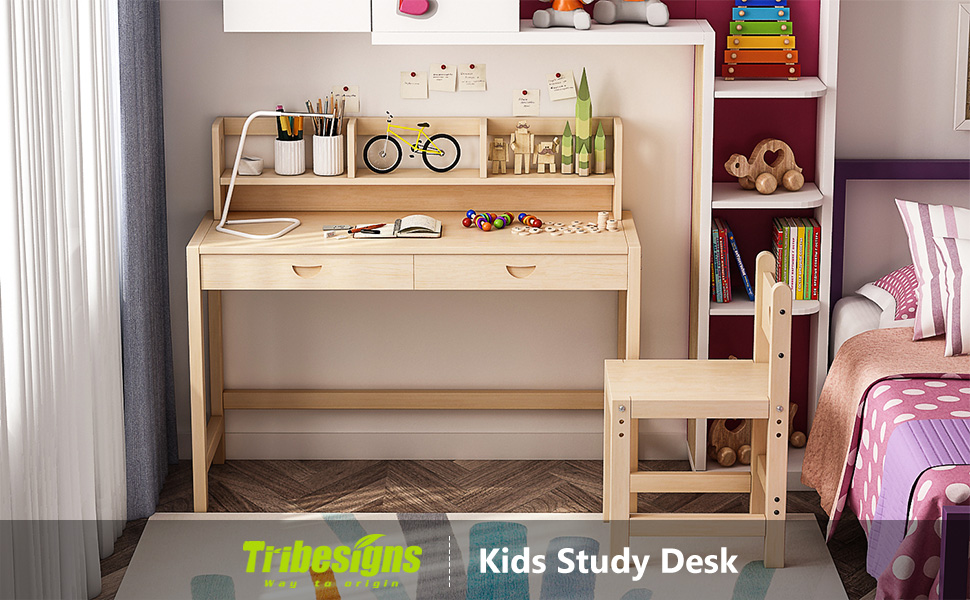 drawer great desk height wood for chair works adjustable tier kids solid tribesigns set as study bookshelf with and proinfo student writing