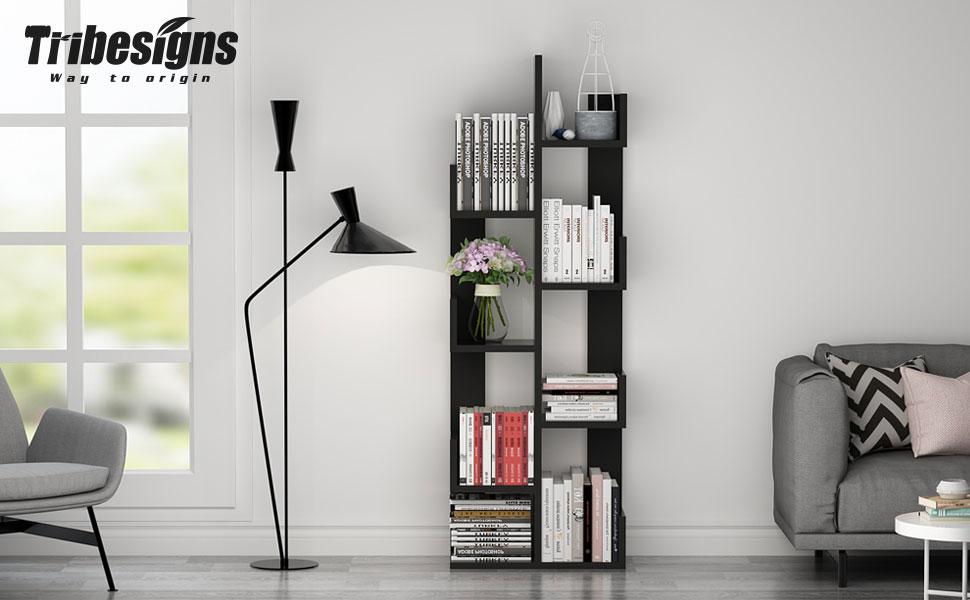 Modern Black White 8//13-Shelf Tree Bookshelf Bookcase Book Rack Display Storage