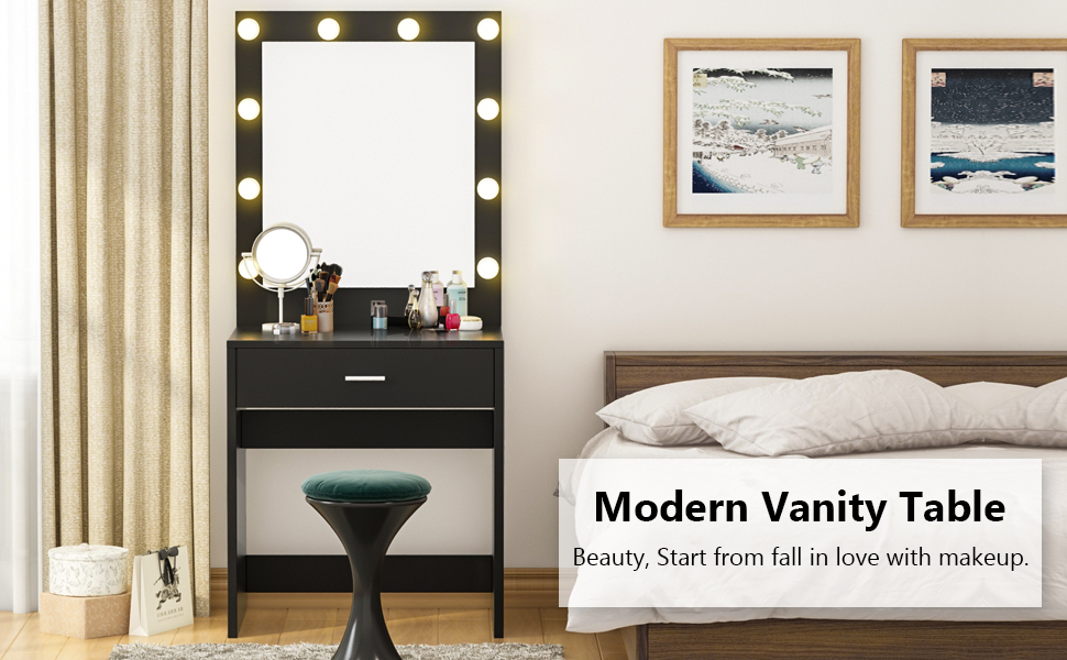 Tribesigns Vanity Set with Lighted Mirror, Makeup Vanity Dressing Table  Dresser Desk with Large Drawre for Bedroom, Black (10 Warm LED Bulb)