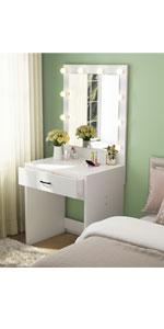 White Vanity Makeup Desk with lights