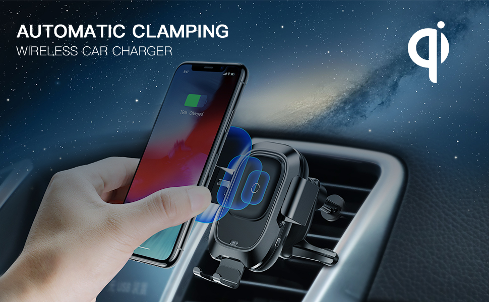 car mount  wireless car charger mount automatic clamping