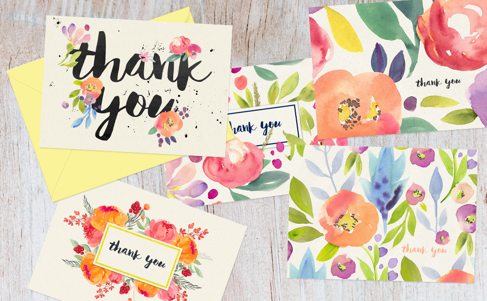 Amazon Com Thank You Cards 40 Floral Thank You Notes For Your