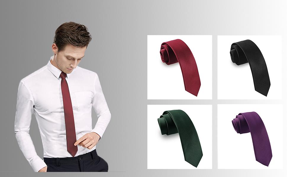 Mens Casual Purple Solid Neck Tie Wedding Plain Necktie Narrow Slim Skinny SK606