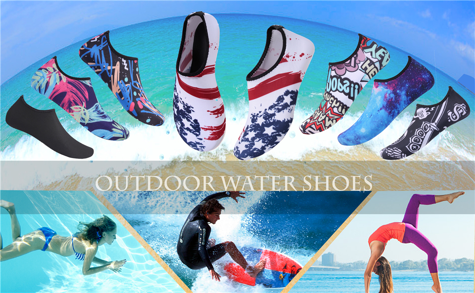 82956e605 JIASUQI Outdoor Lightweight Pool Beach Swim Surf Athletic Aqua Water Shoes  Socks for Kid Women Men