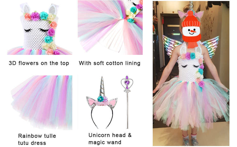 Jxstar Flower Unicorn Costume for Girls Pageant Princess Tutu Party Dresses