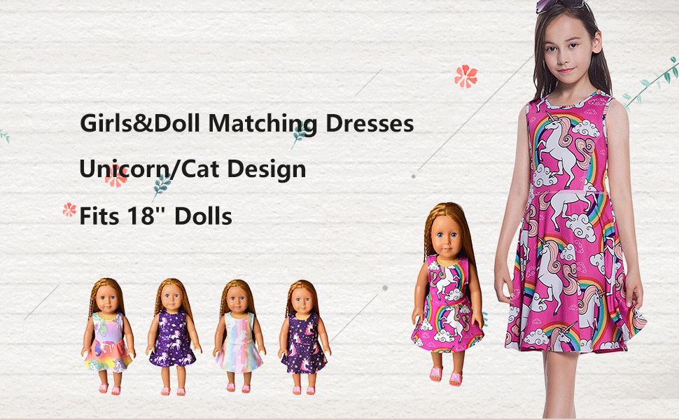 Girls/&Doll Matching Dresses Sleeveless Unicorn Clothes Outfits Fits 18 Dolls