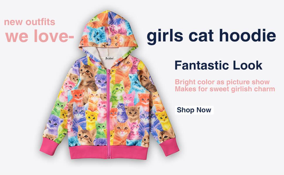 22189c709 Amazon.com: Girls Zip Up Hoodie Jacket Unicorn/Cat Sweatshirt with ...