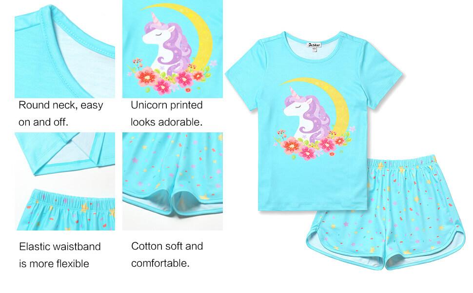 Pyjs  Nightwear 4-13yrs Girls Flamingo Print Short Pyjama Set