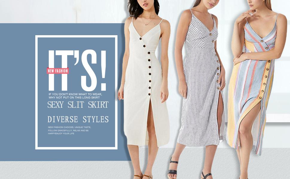 f82cef421 Astylish Women's Sleeveless Backless V Neck Casual Dresses Spaghetti Strap  Button Down Slit Midi Dress