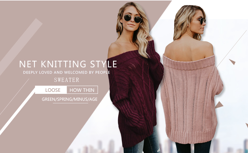 Amazon Astylish Womens Sexy Off Shoulder Loose Cable Knit