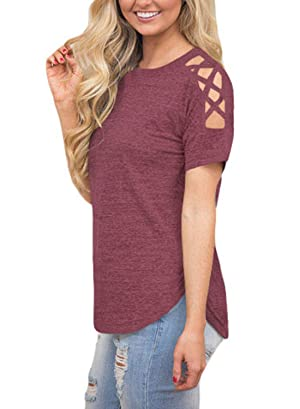 93cabbd3a037a5 Astylish Women Sexy Cold Shoulder Cut Out Blouse Casual T Shirt Tops ...