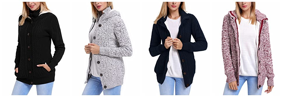 Astylish Women Button Down Long Sleeve Basic Soft Knit Hooded ...