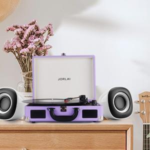 Amazon.com: JORLAI JORLAI - Reproductor de vinilo, giratorio ...