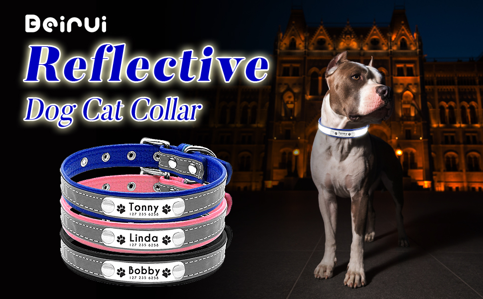 Beirui Reflective Custom Dog Collar with Soft Padded ESA ID TAG as Gift,Pink,10-13 Personalized Engraved Dog ID Collars with Nameplate Leather Dog Cat Collar for Small Medium Puppy Dogs