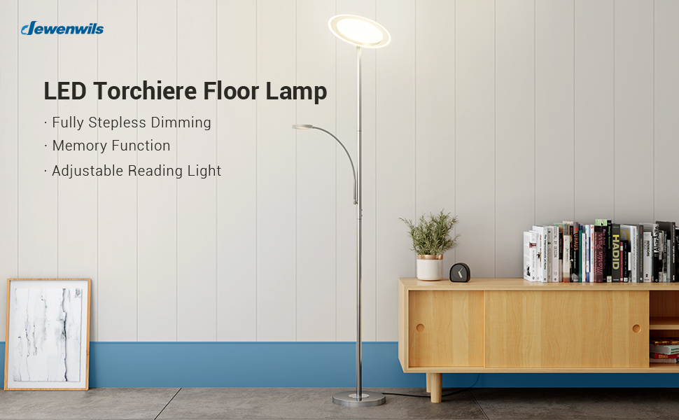 """DEWENWILS 71"""" LED Torchiere Floor Lamp with Reading Light for Living Room Bedroom Office"""