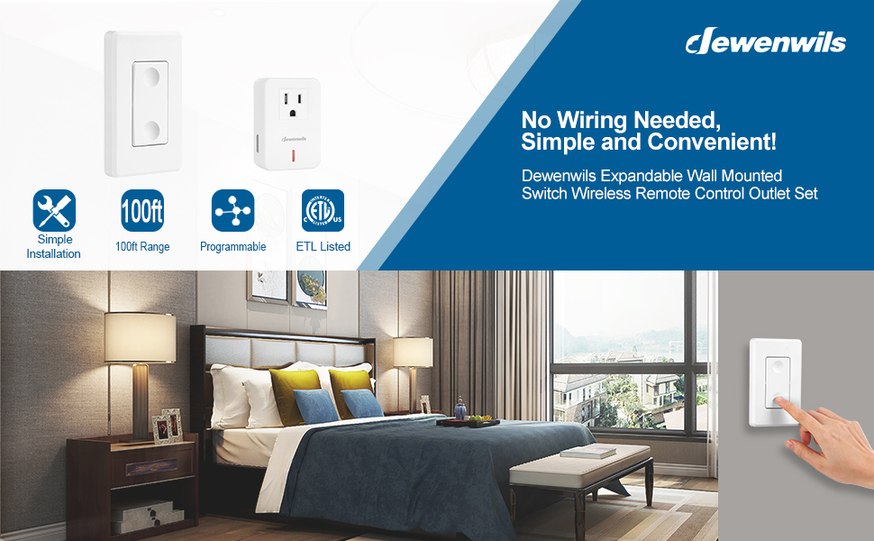 DEWENWILS Remote Control Outlet Wireless Wall Mounted Light Switch Electrical On Off Power Switch