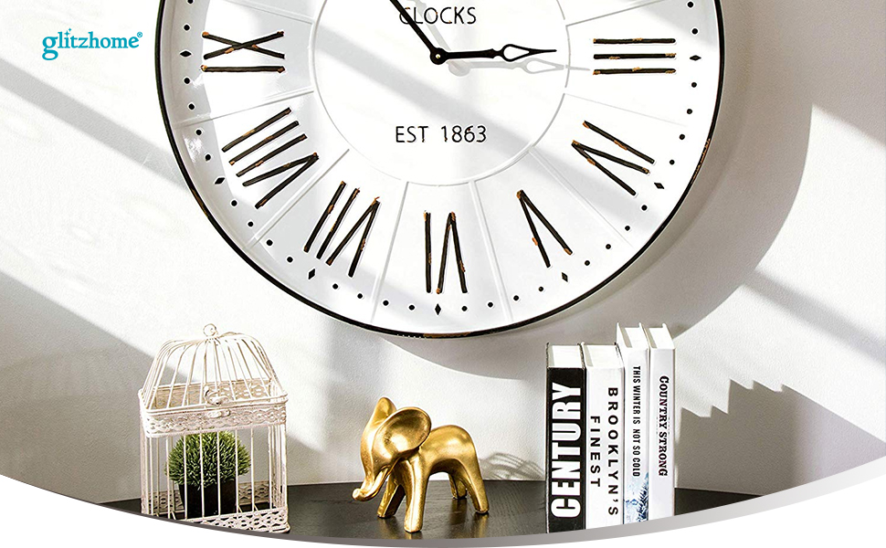 Glitzhome 31.5/'/' Oversized Farmhouse Metal Enamel Wall Clock Rustic Home Decor