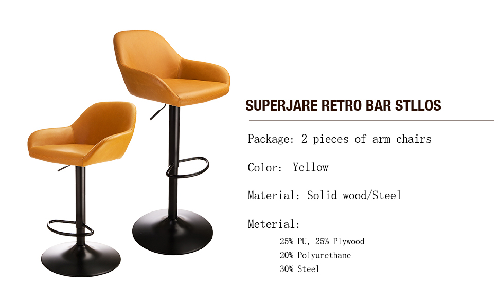Remarkable Glitzhome Adjustable Swivel Bar Stool Mid Century Dining Kitchen Leather Counter Height Bar Stools Chairs Yellow Set Of 2 Andrewgaddart Wooden Chair Designs For Living Room Andrewgaddartcom