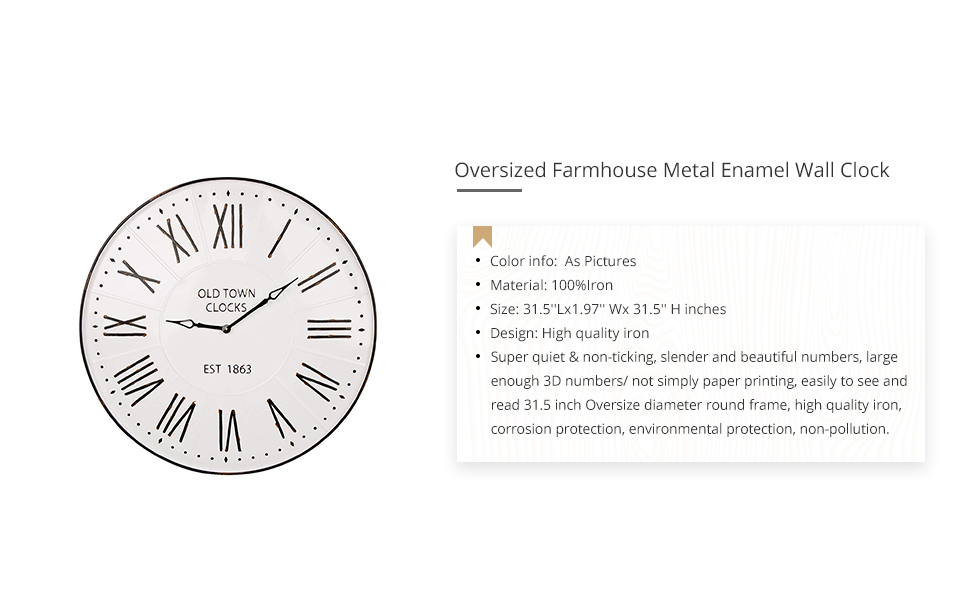 Glitzhome 31 5 Oversized Decorative Wall Clock With Roman Numerals Large Round Metal Imitation Enamel Rustic Wall Clocks For Kitchen Living Room Bedroom Office School Home Kitchen