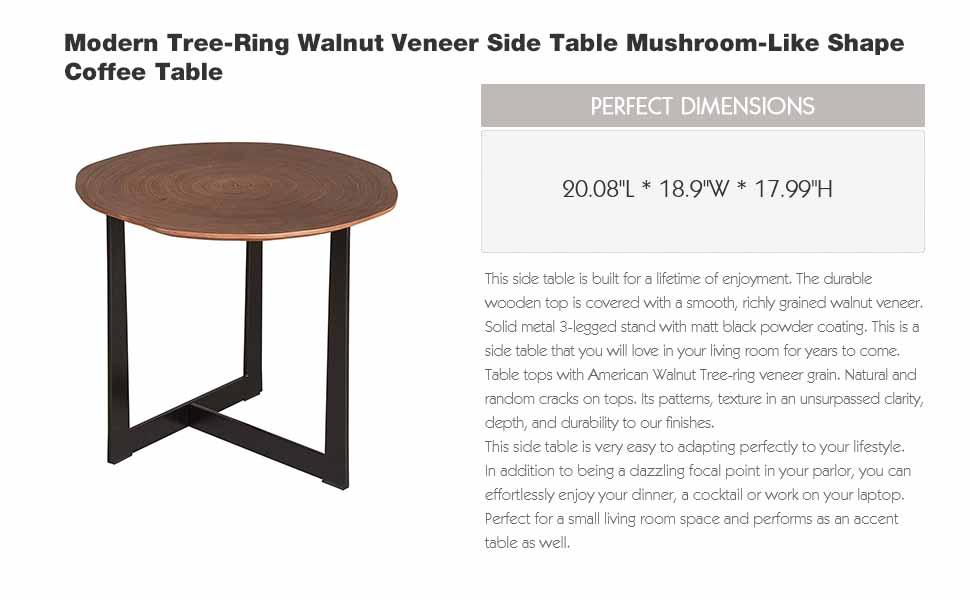 Excellent Glitzhome Modern Tree Ring Walnut Veneer Side Table Mushroom Like Shape Coffee Table Download Free Architecture Designs Ferenbritishbridgeorg