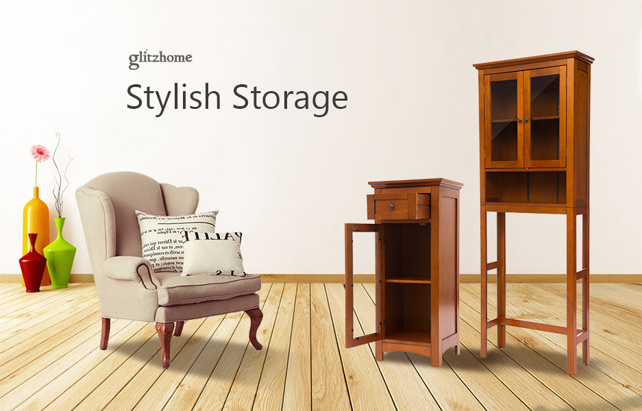 "Glitzhome 34""H Wooden Russet Floor Storage Bathroom"
