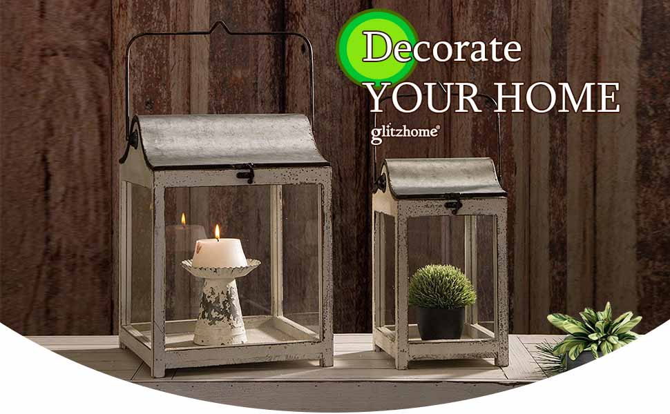 decorative candle lanterns farmhouse outdoor indoor hanging lantern home decor rustic style white