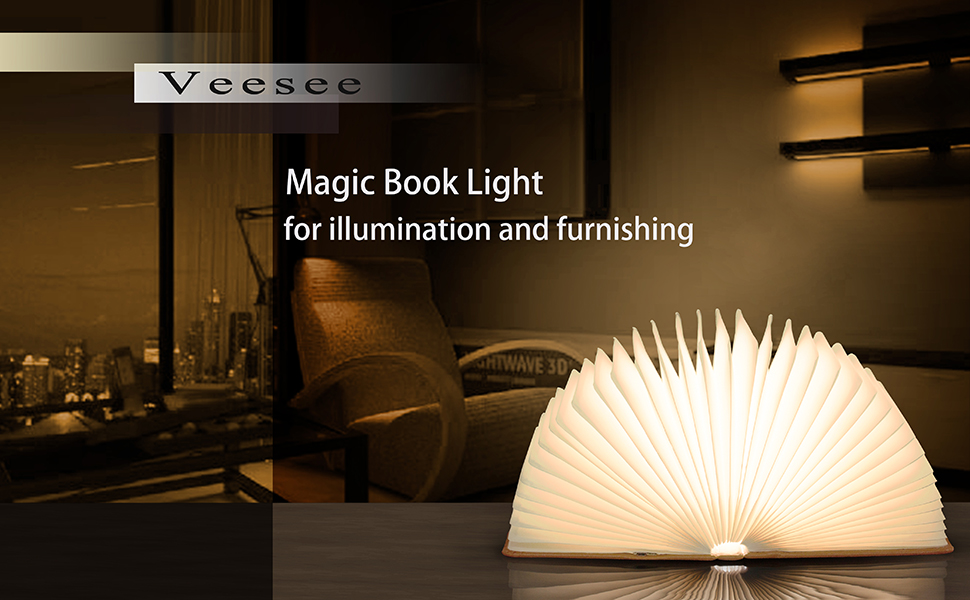 Amazon.com: Veesee Upgraded 8 Colors Book Lamp,Rechargeable ...