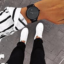 mvmt watch womens watch black watch minimalist steel wristband