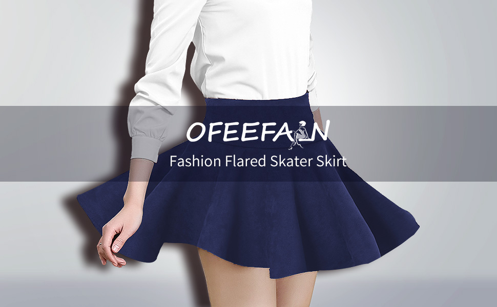 c0839868e0 OFEEFAN Women's Faux Suede Stretchy Pleated Flared Skater Skirt S-XL