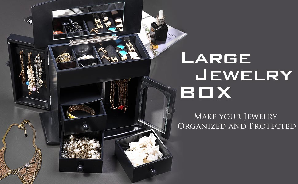 64756b556 3 hooks hidden in the side door and hanger inside the mini door are great  for hanging necklaces; This Jewelry Box ...