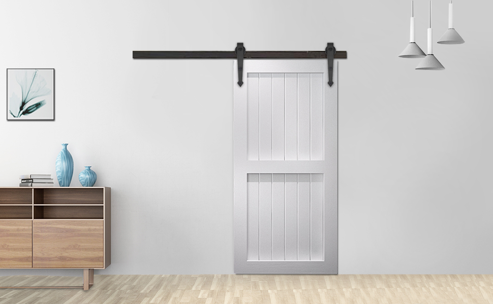 Yeshom 6ft Arrorw Shape Black Country Style Steel Sliding Barn Door