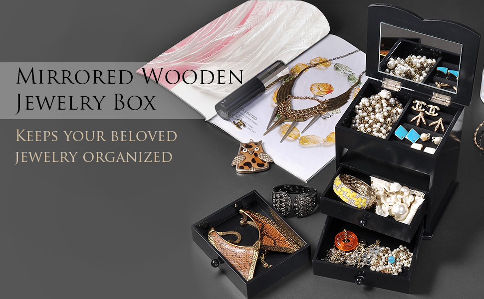 c41592515 This Jewelry Box is great for organizing and storing rings, earrings,  necklaces, bracelet, etc.