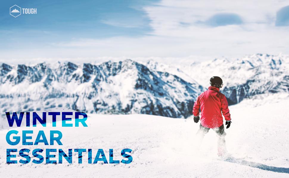 Winter gear essentials Tough Outfitters ski gloves skull cap mittens balaclava goggles neck warmer