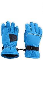 kids blue ski gloves