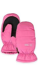 kids pink ski mittens