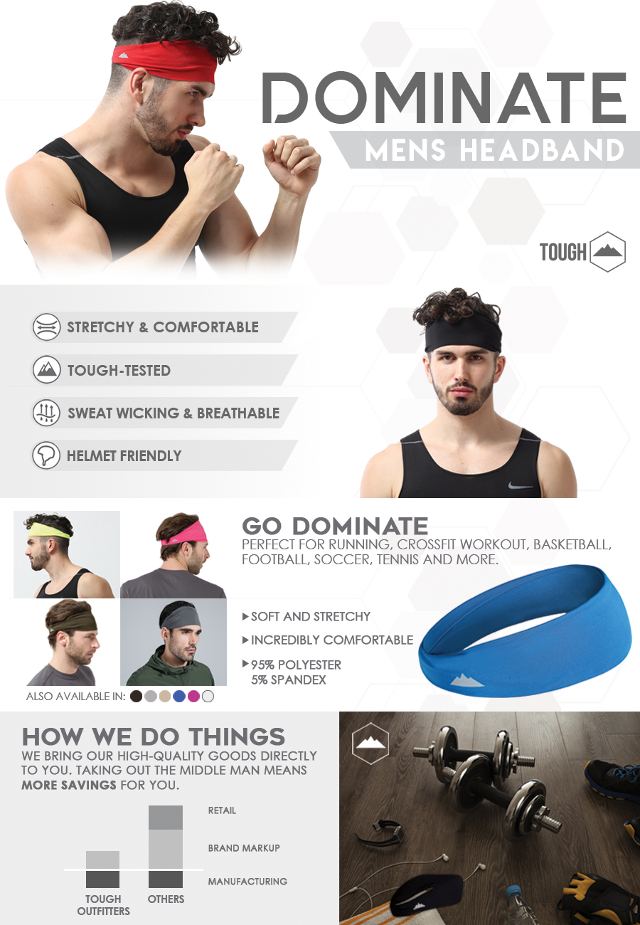 025a790b02b Amazon.com   Mens Headband - Guys Sweatband   Sports Headband for ...