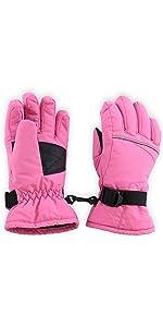 kids pink ski gloves