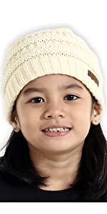 cable knit kids beanie