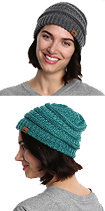 Slouchy Cable Knit Cuff Beanie