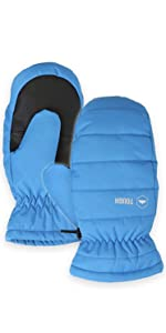 kids blue snow mittens