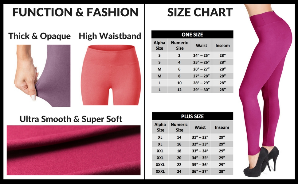 SATINA High Waisted Leggings - 25 Colors - Super Soft Full