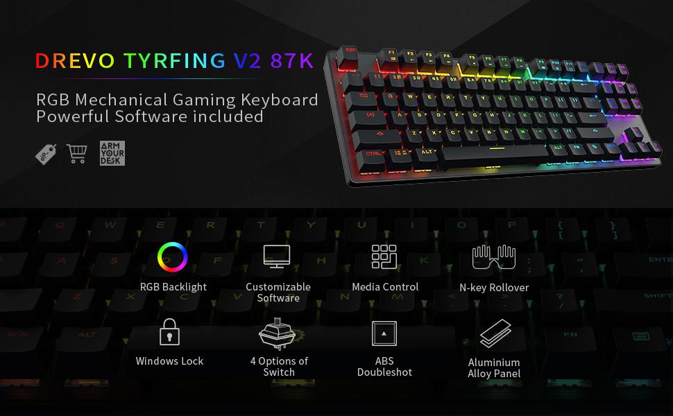 Tyrfing V2 87K RGB Backlit Mechanical Gaming Keyboard Tenkeyless