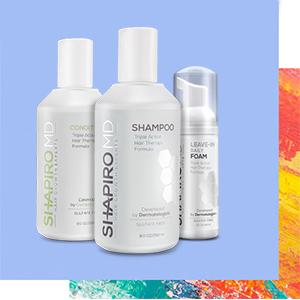 healthier hair, thicker hair, fuller hair, shampoo, conditioner, foam, Shapiro MD, hair growth